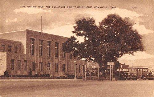 Comanche Texas Fleming Oak Court House Street View Antique Postcard - Oak Court