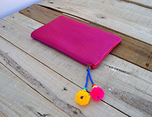 Bright rosa, cremallera monedero, maquillaje o cosméticos bolsa, bolsa de utilidad,, seda sintética acolchado, Bohemian