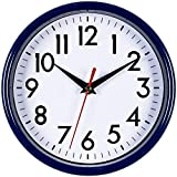 """Bernhard Products - Navy Blue Wall Clock 8"""" Silent Non-Ticking Quality Quartz Battery Operated Small Clock for Boys/Kitchen/Classroom/Office/Nursery Room Easy to Read (Navy Blue)"""