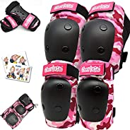 Simply Kids Knee and Elbow Pads with Wrist Guards, HardSoft Pad Tech. I CPSIA Certified Protective Gear Set I