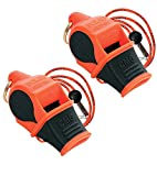 Fox 40 Sonik Blast Cushion Mouth Group Sports and Safety Loud Whistle with Lanyard, Orange & Black (2 Pack)