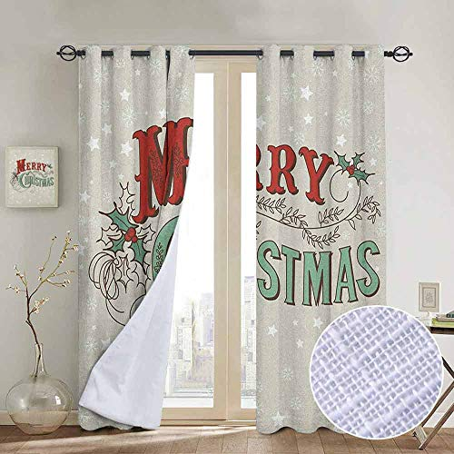 NUOMANAN Print Curtains for Bedroom Curtain Christmas,Xmas Stars and Snowflakes Backdrop with Stylized Retro Lettering, Eggshell Sea Green Ruby,Grommet Window Treatment Set for Living Room 120