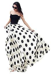 Women\'s Fashion Chiffon Polka Dot Print High-waist Summer Long Maxi Skirt (X-Large, White)