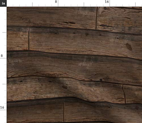 (Wood Fabric - Stained Planks Weathered Reclaimed Antique Vintage Print on Fabric by The Yard - Satin for Sewing Lining Apparel Fashion Blankets Decor)
