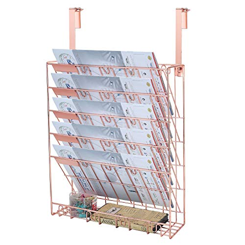 - Samstar Wall File Holder Organizer, Mesh Metal Door Wall Mounted Paper Document Holder for Office Home 6 Tier,Rose Gold