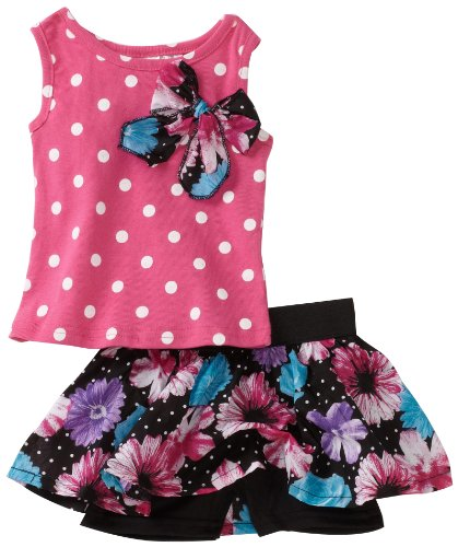 Young Hearts Baby Girls' Knit Top With Matching Floral Skooter Skirt Set, Pink/Blue/Black, 24 Months