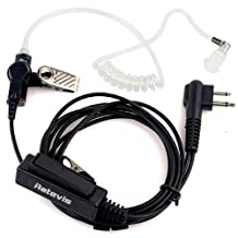 Retevis 2 Pin Covert Acoustic Tube Radio Earpiece Headset with PTT for Motorola 2 Way Radio (Black)