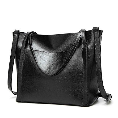 Fayland Women Stylish Leather Hobo Handbags Large Capicity Messenger Shoulder Bag Satchel Tote Bags Black by Fayland