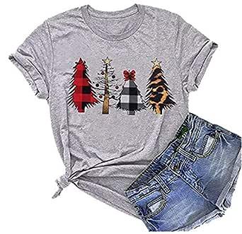 AIMITAG Christmas Buffalo Plaid Leopard Tree T Shirt Women Christmas Lights Holiday Tees Tops Short Sleeve Casual T-Shirt (Small, Grey)