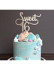 Astra Gourmet Sweet 16 Glitter Gold Cake Topper - 16th Birthday Anniversary Cake Topper 16th Birthday Party Decoration