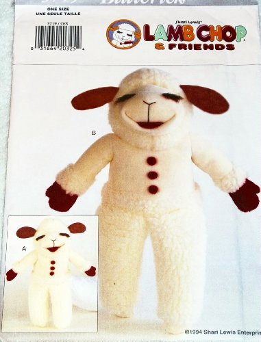 OOP Butterick Pattern 3719. Stuffed Lamb Chop Doll & Hand Puppet. LAMB CHOP. Designs by Shari Lewis ()