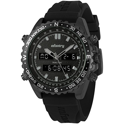 Infantry Big Face Mens Military Tactical Watch Black Large Sport Wrist Watches for (Multifunction Black Rubber Watch)