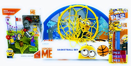 Missing Link Connections Despicable Me Minion Basketball Set with Medieval Mischief 74 Piece Mega Construx PEZ Dispenser Candy]()