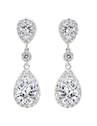 EleQueen 925 Sterling Silver Cubic Zirconia Teardrop Bridal Dangle Earrings