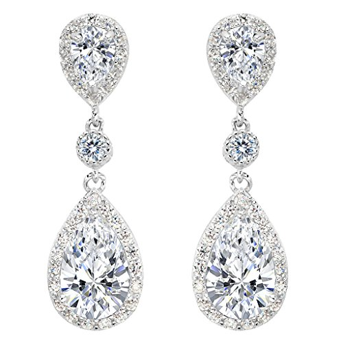 EleQueen 925 Sterling Silver Full Prong Cubic Zirconia Birthstone Teardrop Bridal Dangle Earrings (Good Costumes For Couples)