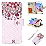 Galaxy S6 Case, UrSpeedtekLive Galaxy S6 Wallet Case, Premium PU Leather Wristlet Flip Case Cover with Card Slots & Stand Compatible Samsung Galaxy S6, Floral 2