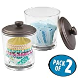 Cupcake Kitchen Decor mDesign Kitchen Storage Jar for Baking Supplies, Cupcake Liners, Sugar Packets, Candy - Pack of 2, Clear/Bronze