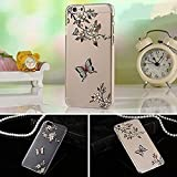 KC Ultra Thin 3D Printed Butterfly and Flowers With Crystals. Transparent Clear Soft TPU Premium Quality Anti-Scratch Back Cover iPhone 5, iPhone 5s & iPhone SE - Transparent