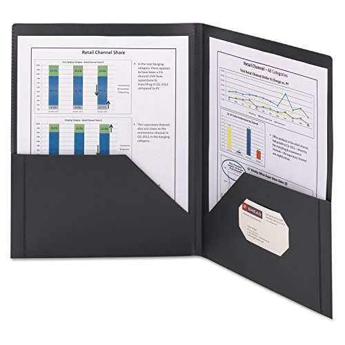 Smead 87705 Frame View Poly Two-Pocket Folder 11 x 8 1/2 Clear/Black 5/Pack