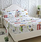 queen sheets cars - Brandream Kids Boys Cars Vehicles Bed Sheet Set Cotton Sheets Set 4pcs Queen Size