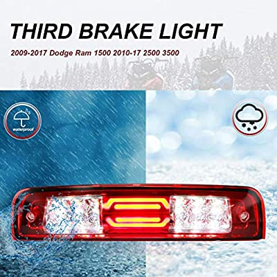 Youxmoto LED 3rd Brake Light Third Brake Light High Mount Brake Light Cargo Lamp Waterproof Fit 2009-2020 Dodge Ram 1500 2010-2020 2500 3500 55372082AD 55372082AC Chrome Housing Red Lens: Automotive