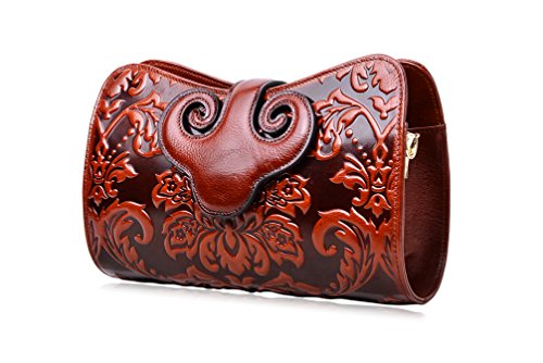 PIJUSHI Womens Crossbody Evening Bag Embossed Floral Party Purse Clutch Bags (22271, Brown) (Floral Swirls Iphone)