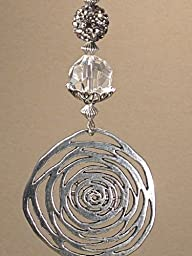 Contemporary Modern Silver Metal Medallion, Gray Rhinestone & Glass Light / Ceiling Fan Pull