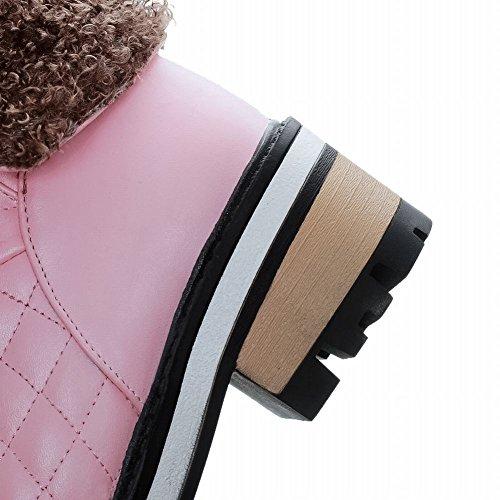 Mee Shoes Damen chunky heels kurzschaft Plateau Schneestiefel Pink