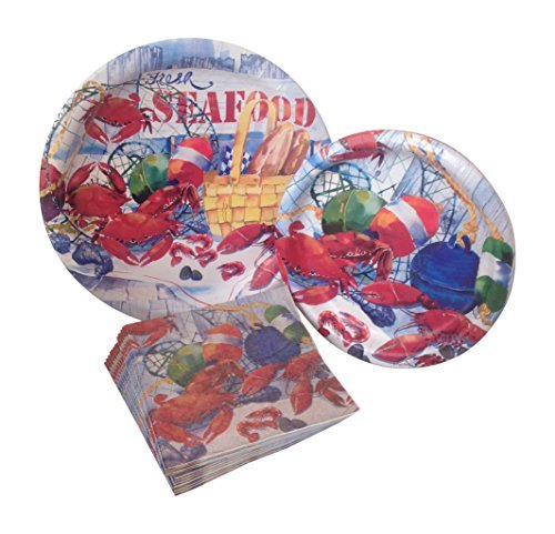 Seafood Celebration Party Supply Pack! Bundle Includes Paper Plates & Napkins for 8 -