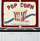 Ambesonne Movie Theater Kitchen Curtains, Fresh Delicious Pop Corn Film Tickets Strip Advertising in 60s Theme, Window Drapes 2 Panel Set Kitchen Cafe, 55 W X 39 L inches, Multicolor