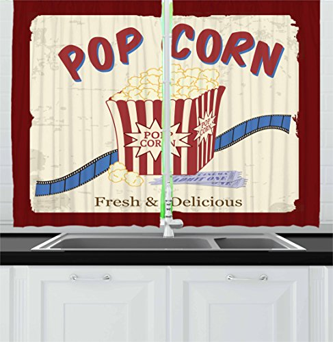 Ambesonne Movie Theater Kitchen Curtains, Fresh Delicious Pop Corn Film Tickets Strip Advertising in 60s Theme, Window Drapes 2 Panel Set Kitchen Cafe, 55 W X 39 L inches, Multicolor by Ambesonne