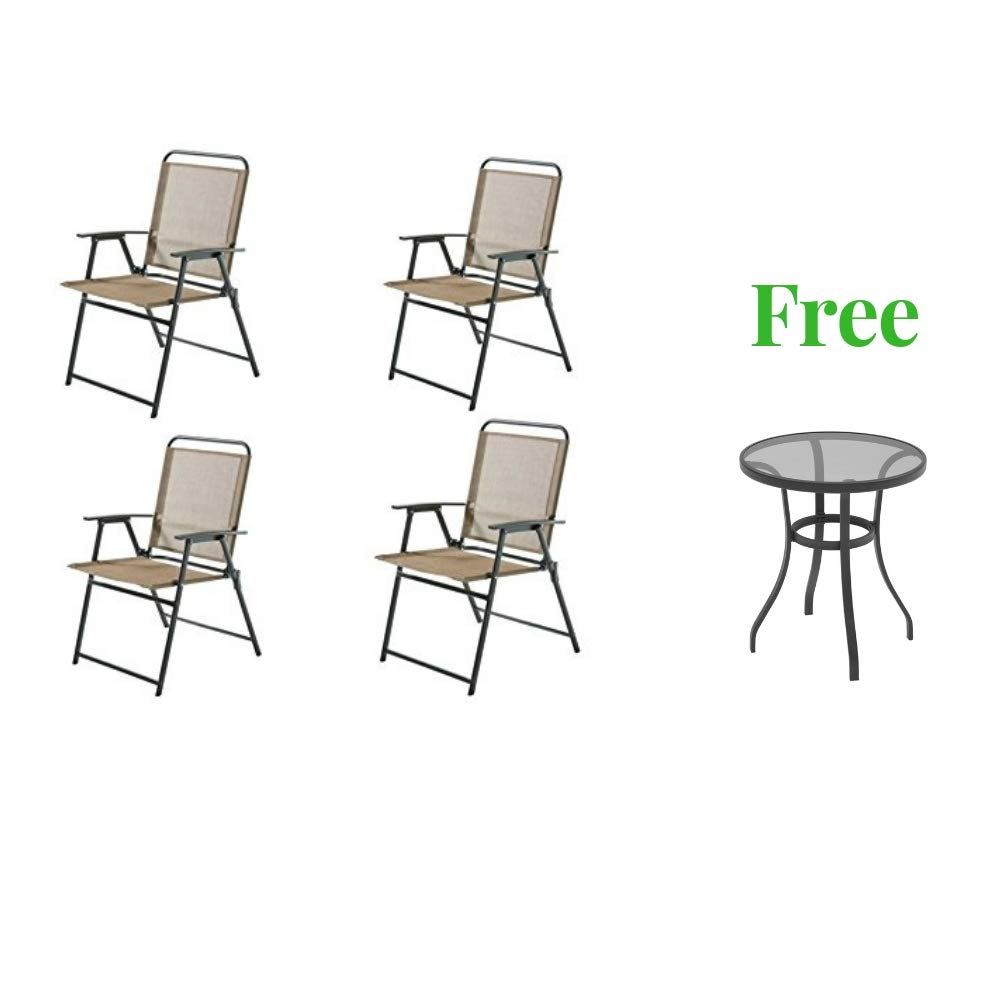 Mainstay- Pleasant Grove Sling Folding Chair (4 Pack, Tan)