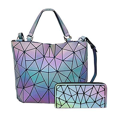 HotOne Geometric Luminous Purses and Handbags Shard Lattice Eco-friendly Leather Rainbow Holographic Purse (Luminous Large) ()