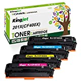Kingjet Compatible Toner Cartridge Replacement for 201X CF400X 201A CF400A Ink, Use with Color LaserJet Pro MFP M277dw M252dw M277c6 M277n M252n Printer (Black Cyan Magenta Yellow, 4-Pack, High Yield)