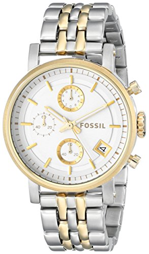 Amazon.com: Fossil Womens ES3746 Original Boyfriend Two-Tone Stainless Steel Watch with Link Bracelet: Fossil: Watches