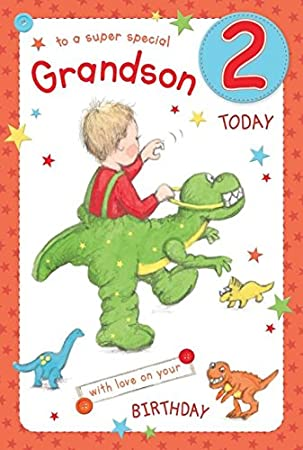 Super Special Grandson Age 2 Large Luxury 2nd Birthday Card