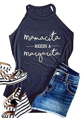 Mamacita Needs A Margarita Tank Women Round Neck Sleeveless Funny Tshirt Vest Tee