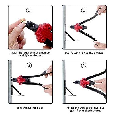 "14""Rivet Nut Tool, Meterk Professional Hand Rod Rivet Gun Setter Kit with 7Metric & SAE Mandrels and 35pcs Rivnuts, Labor-Saving Design, Rugged Carrying Case: Home Improvement"