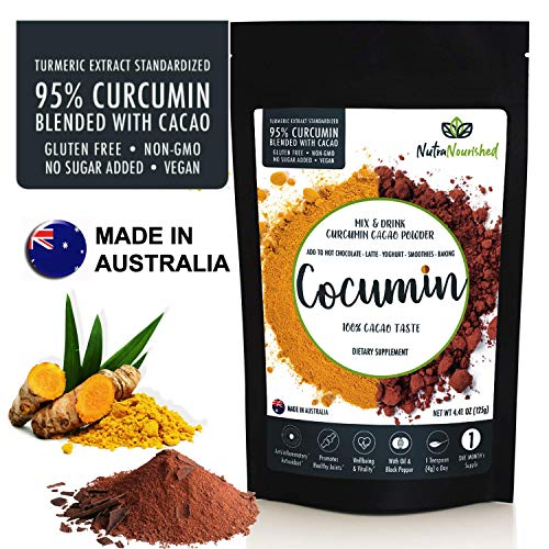 95 Curcumin Turmeric Extract Powder Natural Pure Supplement, Vegan, Organic, Water Soluble, Non-GMO, Gluten Free, Extra Strength, Antioxidants, Cocoa Flavour, Piperine, 4.41oz