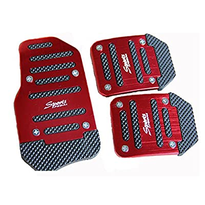 Commart 3 Pieces Aluminum Universal Manual Transmission Car pedal Red and black Non-Slip Brake Pedal Cover Fit for Auto Vehicle