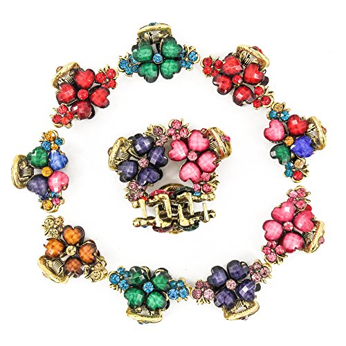 Yeshan rhinestone and Crystal Beaded Barrette small Metal Flower Style Claw Jaw Hair Clip,Pack of 12