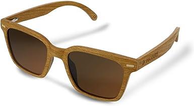 Navaris Gafas de sol de madera con filtro UV - Marco de madera multicapa - Lentes polarizadas grises - Estuche de corcho - Gafas de sol retro unisex: Amazon.es: Ropa y accesorios