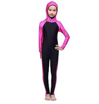 0c6e33f033 FXFAN Muslim Hui Girl Traditional Fashion Girl Swimwear Conservative 3  Piece Split SwimsuitZHANGM (Color :