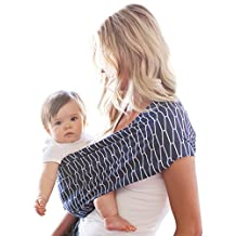 HOTSLINGS Adjustable Pouch Baby Carrier Sling, Large, Navy, White