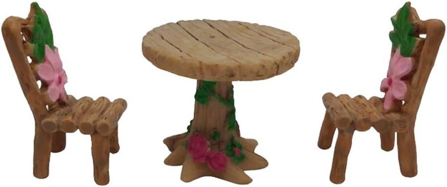 Resina Mini Muebles Mesa Silla Mini Juego de Muebles de jardín Micro Paisaje en Miniatura Musgo Ornamento Muebles