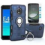 Moto E4 Case with HD Screen Protector, EDSAM Dual Layer Shockproof Case with 360 Degree Rotating Ring Kickstand Fit Magnetic Car Mount for Motorola Moto E4 /Moto E 4th Gen (USA Version) (Navy Blue)