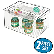 mDesign Baby Food Storage Organizer Bin for Pouches, Formula, Jars, Spoons - Set of 2, 8  x 6 , Clear