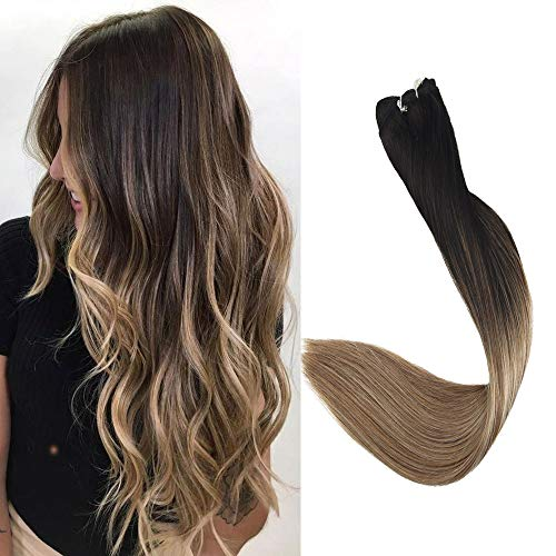 Beauty : Full Shine 18 Inch Sew in Hair Extensions Color #1B Fading to #8 and #22 Weft Hair Bundles Balayage Human Hair Weft Hair Extensions Remy Hair 100g Each Bundle