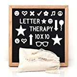 Letter Therapy Changeable 10 X 10 Letter Board Black Felt (298-Piece Set) Letters, Numbers, Punctuation and 29 Exclusive Symbols | Oak Wood Frame w/ Hanging Mount | Incl. Canvas Bag