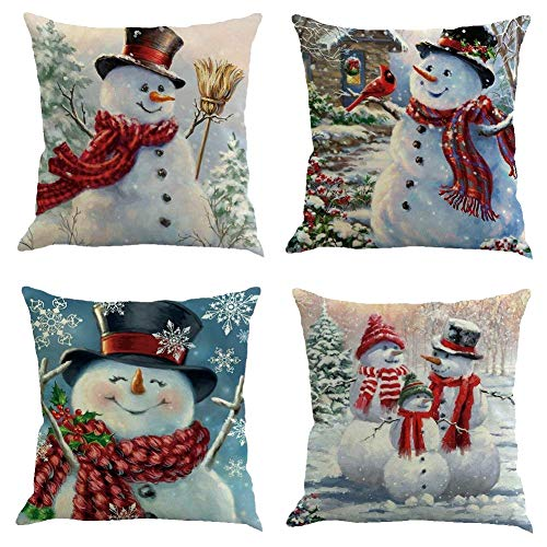 DCZTELG Christmas Throw Pillow Covers Snowman Pillow Cases Home Decor Cushion Cover for Sofa Winter Couch Cushions 18x18inch (Set of 4(9))